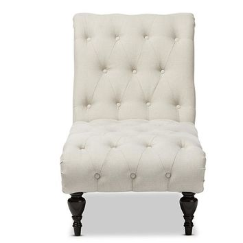 Baxton Studio Layla Mid-century Modern Light Beige Fabric Upholstered Button-tufted Chaise Lounge Set of 1