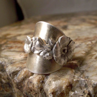 Sterling Silver Spoon Ring  Pansy  Full Wrap by KAuchelle on Etsy