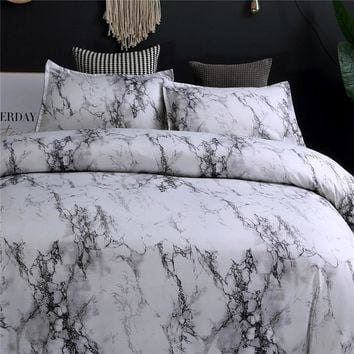 Modern Marble Printed Bedding Set Queen Size 2pcs/3pcs