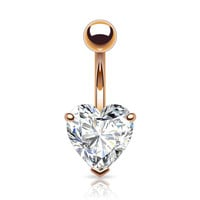 Prong Set Heart Belly Button Ring CZ Rose Gold Plated Navel Ring 14ga