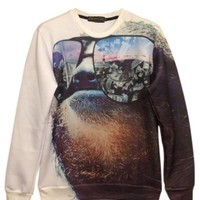 White Cool Womens Sloth Printed Crew Neck Jumper Sweatshirt - PINK QUEEN