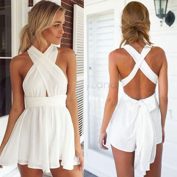 Women Fashion Casual Playsuit summer Overalls Sexy Strap Deep V Neck Sleeveless Backless High Waist Solid Chiffon Jumpsuit 29