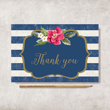 Floral Thank You Card Printable, Digital file, Instant Download - Nautical Striped Thank you Card