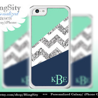 Navy Mint Chevron Iphone 5C case iPhone 5s iPhone 4 case Ipod 4 5 case Silver Sparkle Name Personalized NOT ACTUAL GLITTER Zig Zag
