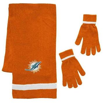Miami Dolphins Scarf and Glove Gift Set