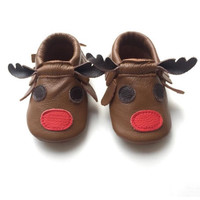 Reindeer Moccs- Holiday Baby Moccasins