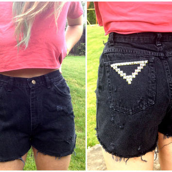High Waisted Black Studded Shorts