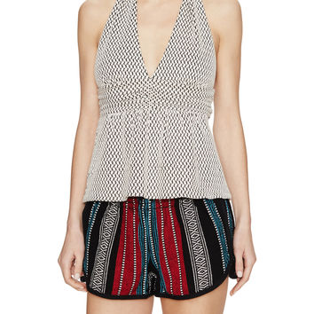 Textured Peplum Halter Top