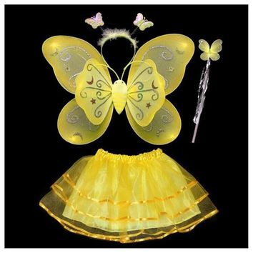 4Pcs Fairy Princess Yellow Butterfly Angel Wings Birthday Costume Baby Toddler
