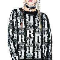 Joy Rich Chrome Status Knit Crewneck Black/White