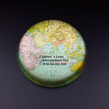 4inch Crystal Hemisphere Paperweight Magnifier Glass World Map Paper Weight