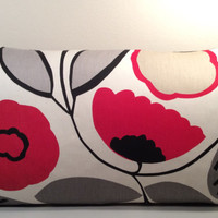 """Handmade Pillow Cover - Modern Flower Print - READY TO SHIP - 12"""" X 20"""" Lumbar pillow in black red and cream"""