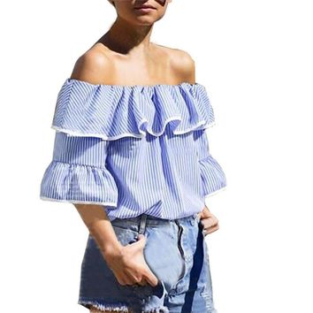 Fashion Blue Striped Women Blouse Sexy Off Shoulder Three Quarter Sleeve Casual Tops