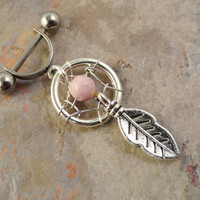 Pink Stone Dream Catcher Helix Ear Piercing by MidnightsMojo
