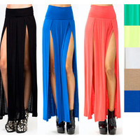 Double Slit Maxi Skirt - Free Shipping