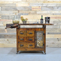 Antique Wood Work Bench, Reclaimed Wood Side Board, Unique Reclaimed Bar Cart