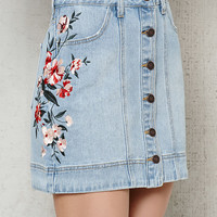 PacSun Embroidered Button-Front Denim Mini Skirt at PacSun.com