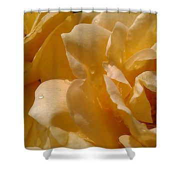 Yellow Garden Roses With Dew Shower Curtain