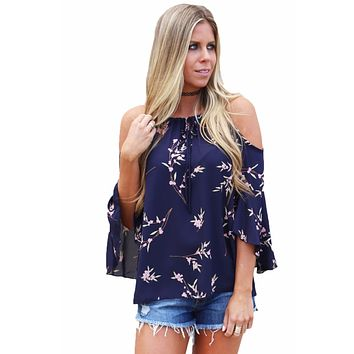 Boho Style Cold Shoulder Blossoms Top