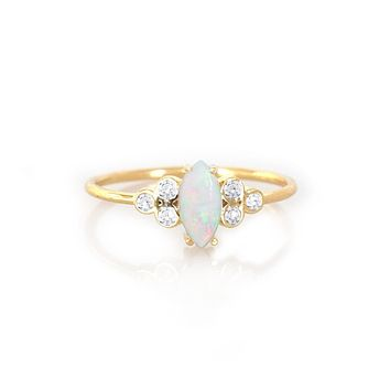 14kt Gold Opal and Diamond Mystic Ring