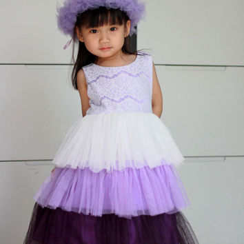 Purple flower girl dress, ombre white and purple satin and lace girl's dress, birthday dress, christmas dress, easter dress