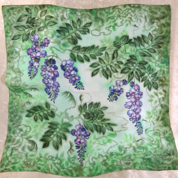 Art silk shawl Morning Wisteria. Hand Painted Original Square Neck Head Scarf. Gift idea. Painting flowers. Green, lilac. 57x57cm. Ready