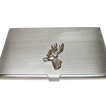Silver Toned Stag Deer Head Business Card Holder