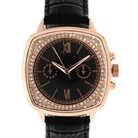 ASOS | ASOS PREMIUM Contrast Dial Watch with Set Stone Inner Detail on Black Genuine Leather Strap at ASOS
