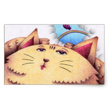 Sleepy cat rectangular sticker