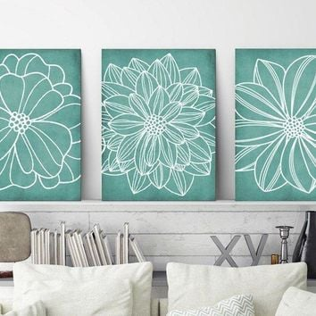 Floral Bathroom Decor, Sea Foam BATHROOM WALL Art, CANVAS or Print, Aqua Bedroom Wall Decor, Flower Outline Wall Art, Set of 3 Wall Decor