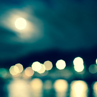 Paris France River Seine Bokeh in Teal  Fine Art Photography Print