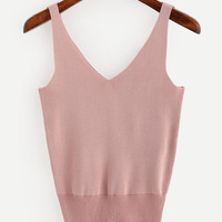 Pink Double V-Neck Knitted Tank Top