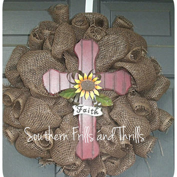 Chocolate Burlap Wreath with Cross