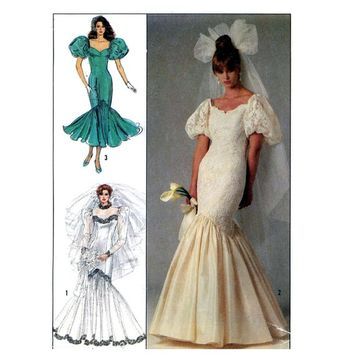 80s Fishtail wedding dress Brides gown vintage sewing pattern Simplicity 8425 Extra Small Bust 30