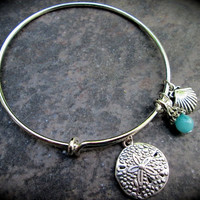 Sand Dollar and Shell Adjustable Wire Bangle Bracelet Aquamarine Jade charm Beach Theme Bracelet Alex and Ani Style