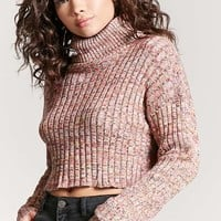 Marled Turtleneck Crop Top