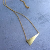 Geometric triangle gold brass long necklace. Gold plated chain