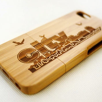 Skyline City Dark Bamboo Wood iPhone 5s Case - Real Wood iPhone 5 Case - Custom iPhone 5s Case Wood - Wooden iPhone 5 Case - Gift