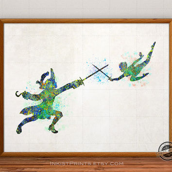 Peter Pan Watercolor, Captain Hook Poster, Disney Art, Disney Illustration, Watercolour, Giclee Wall, Kid Artwork, Comic, Fine, Home Decor