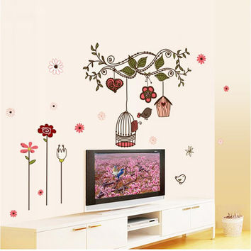 flowers vine birds cage wall stickers tv background room decorations 7102. diy home decals removable mural art print posters 3.5