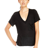 Deep V-neck T-shirt With Pocket In Black