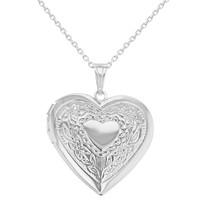 Memory Photo Love Heart Locket Necklace for Women Pendant 19""