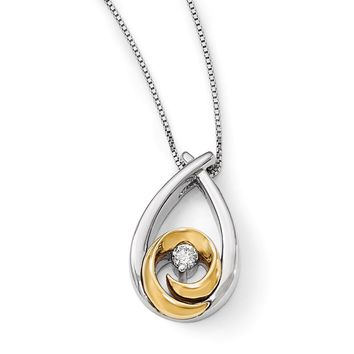 Two Tone Diamond Teardrop Necklace in Sterling Silver & 14k Gold