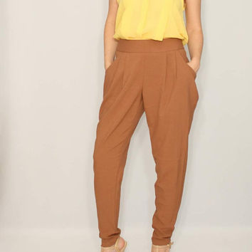Light brown Pants Harem trousers Double Draped Pockets