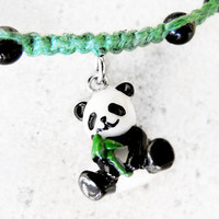 Panda Bear Hemp Necklace by controversial on Etsy