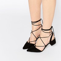 ASOS STORY Lace-up Pointed Heels at asos.com