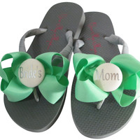 Mint Green Bow Bride's Mom Flip Flops for the Wedding Shoes