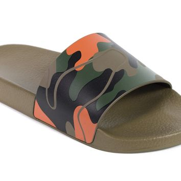 Valentino Mens Camouflage Printed Rubber Slide Sandals