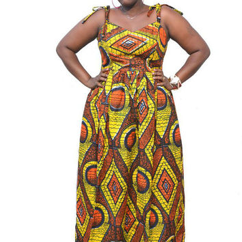 Estido - Plus Size African Print Maxi from KwanzaInspirationEtsy