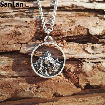 1pcs new necklaces & Pendants Daint antique silver plated mountain Necklace camping pendant natural love Jewelry Gift SanLan